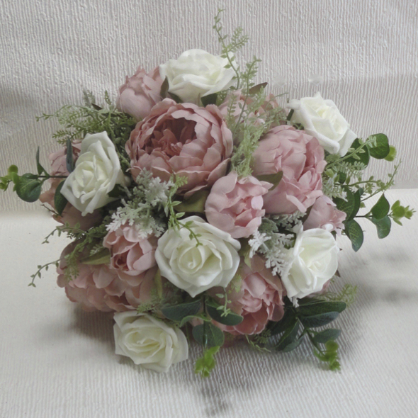 Dusky Pink & Ivory Rose & Peony Wedding Bouquet