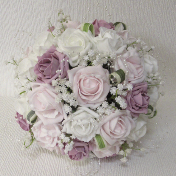 Dusky Pink, Ice Pink & Ivory Rose & Gypsophila Bridal Bouquet