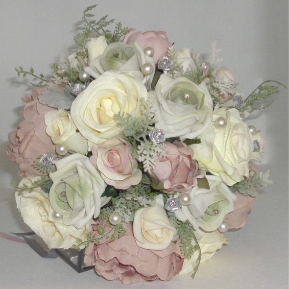 Dusky Pink, Cream, Silver & sage Bridal Bouquet