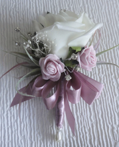 Dusky Pink & White Rose Corsage