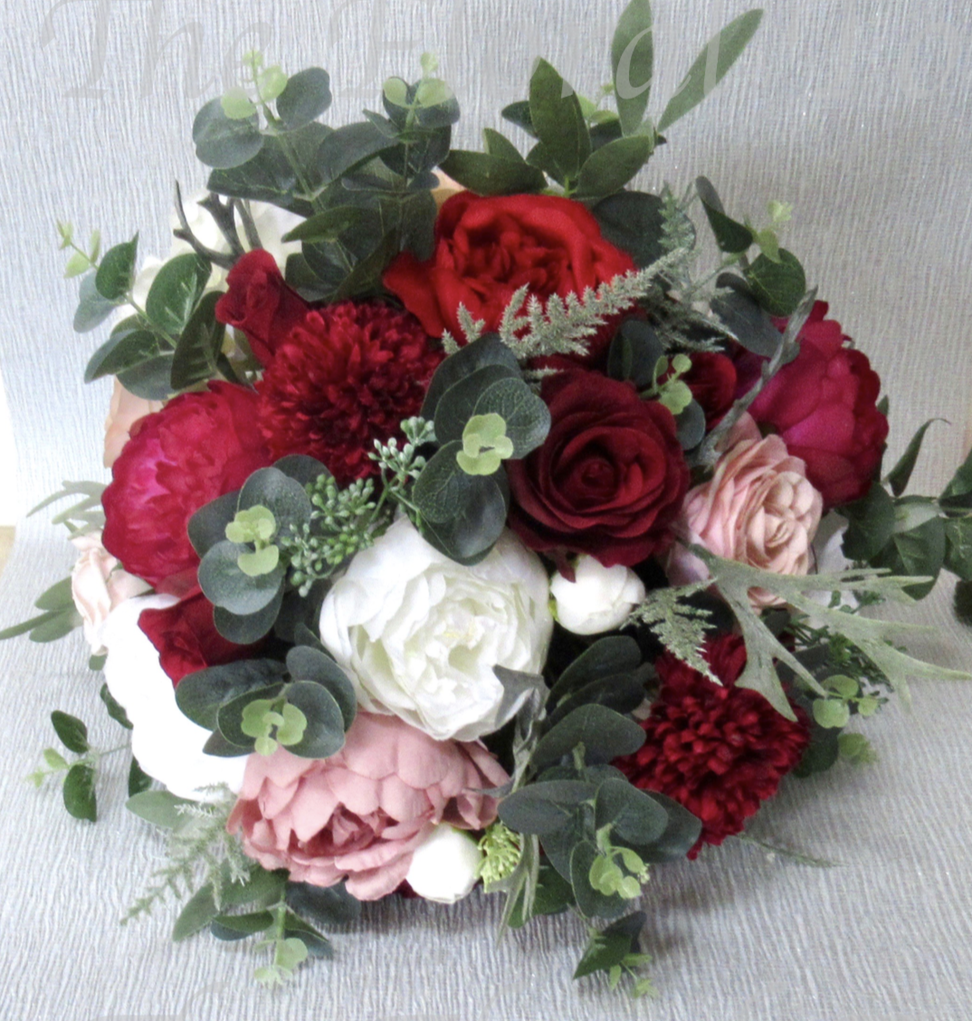 red, burgundy dusky pink and ivory wedding bouquet   Red, Pink, Burgundy & Ivory Bridal Bouquet