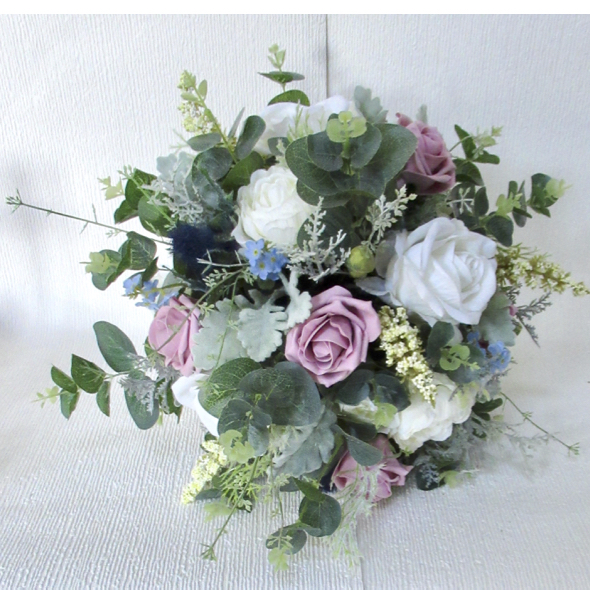 Large Dusky Pink, White, Ivory & Blue Rustic Wedding Bouquet