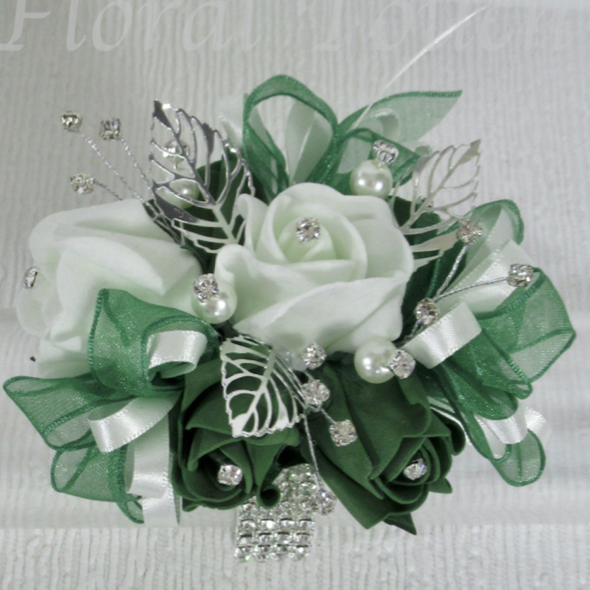 Forest Green Bling Prom Wrist Corsage