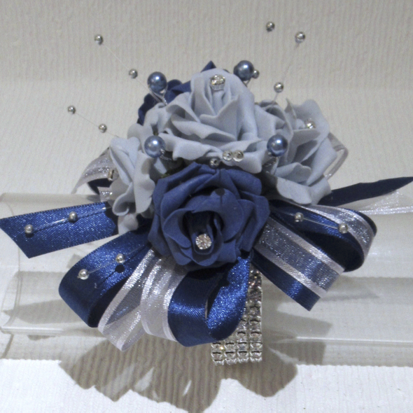 French Navy & French Grey Rose Wrist Corsage