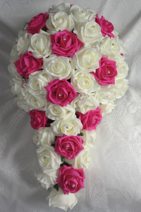 Fuchsia & Ivory Cascading Bridal Bouquet With Diamante Hearts