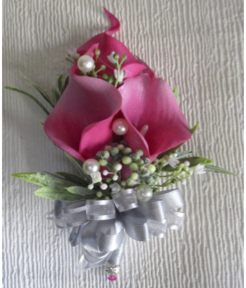 Fuchsia Pink Calla Lily Corsage with Silver Corsage Bow