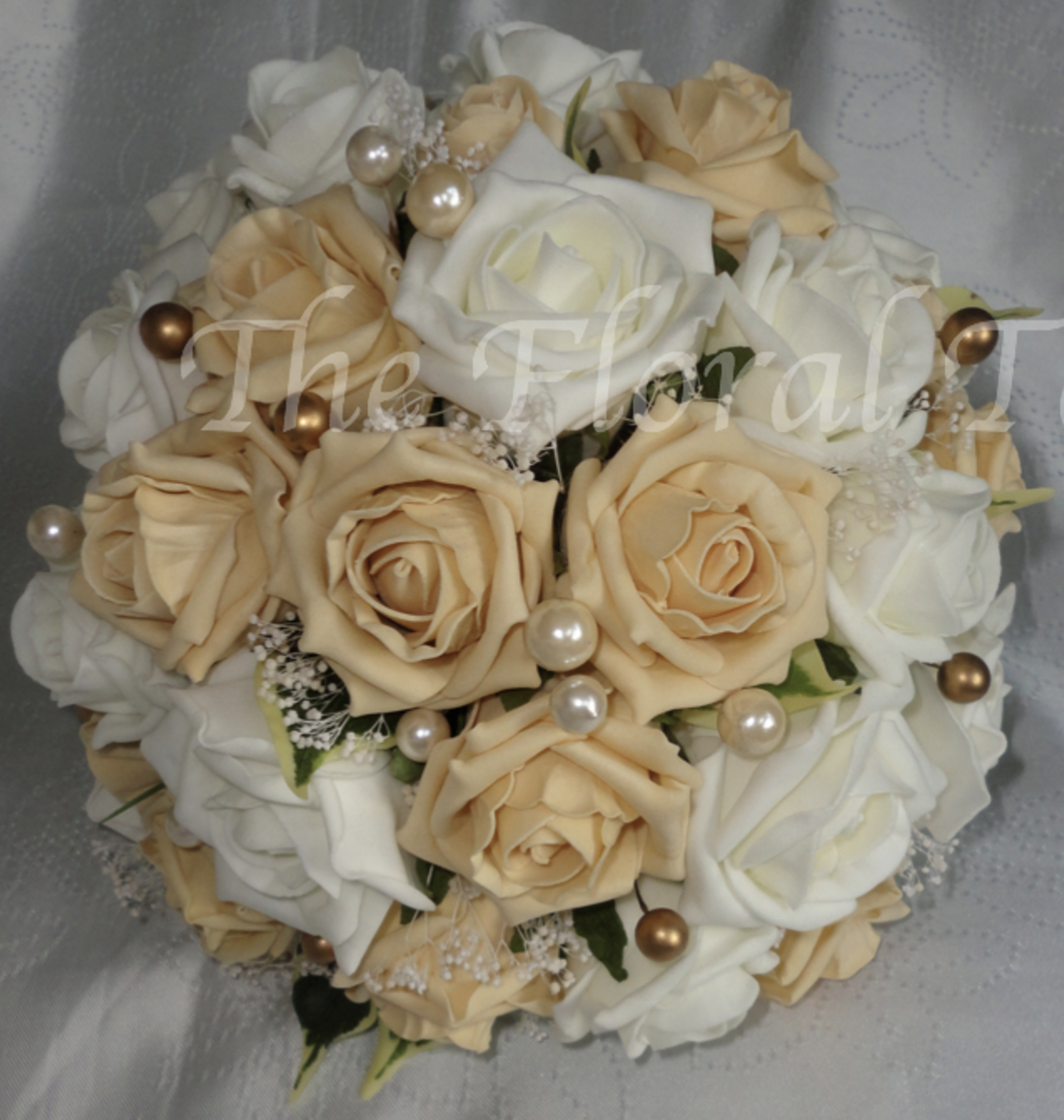 White And Gold Wedding Flowers: Silk Bridal Bouquets