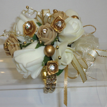 Gold, Champagne & Ivory Wrist Corsage