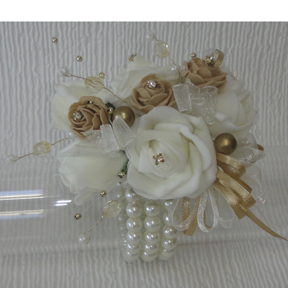 Gold & Ivory Bling Wrist Corsage