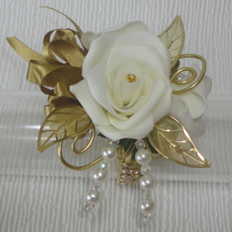 Gold Bling Wrist Corsage