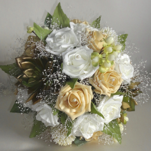 Gold, Champagne Gold & Ivory Wedding Bouquet