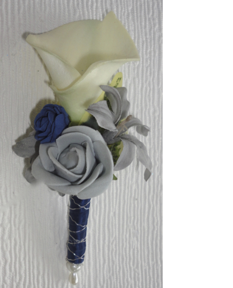 Grey & Navy Calla Lily & Rose Buttonhole