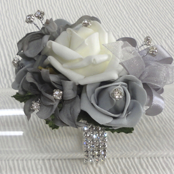 Grey & Silver Bling Wrist Corsage