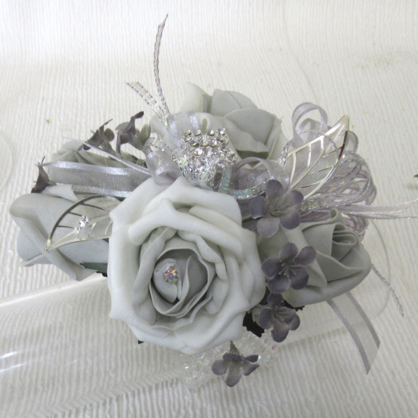 Grey & Silver Diamante Brooch Corsage