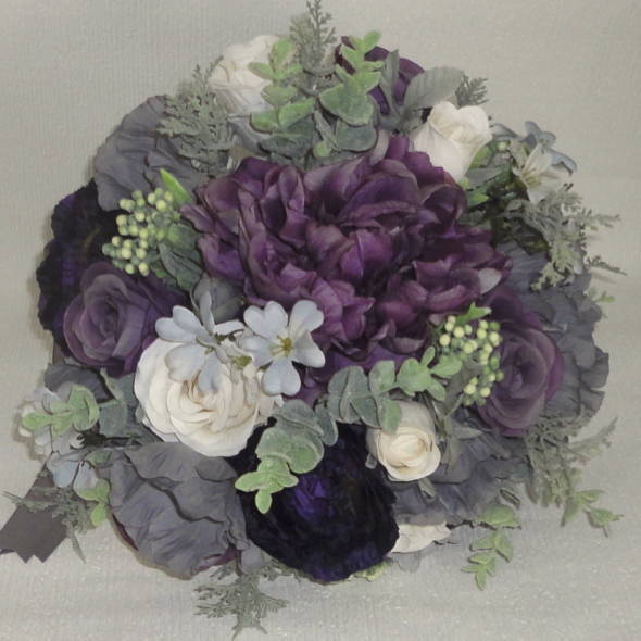 Aubergine, Grey & Dusky Mauve Wedding Bouquet