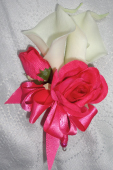 Hot Pink & Ivory Rose & Calla Lily Corsage