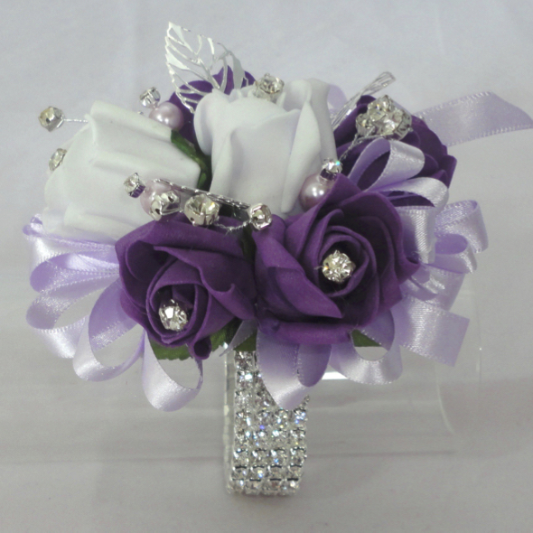 Blingy Ice Lilac & Plum Wrist Corsage