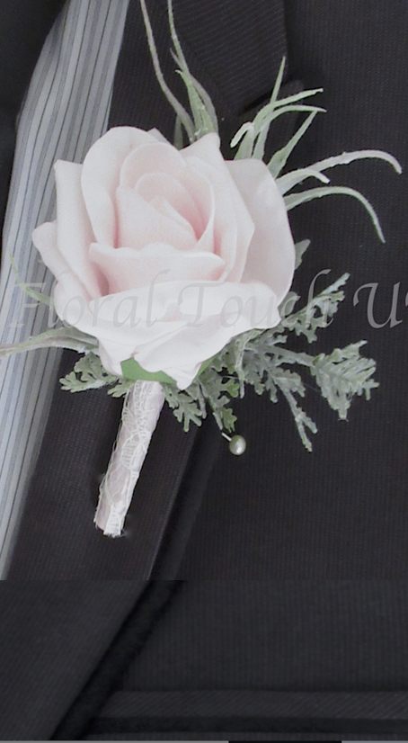 ce Pink Rose & Flocked Foliage Buttonhole with lace to stem