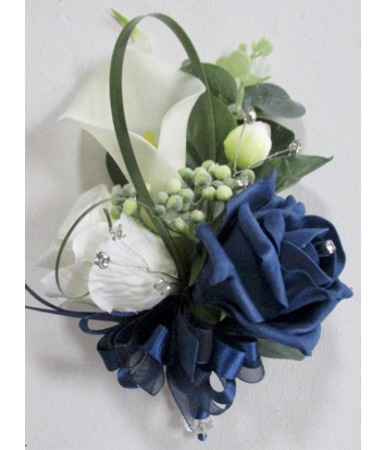 Navy Blue & Ivory Calla Lily & Rose Corsage