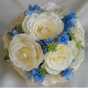 Ivory & Royal Blue Bridesmaid Bouquet