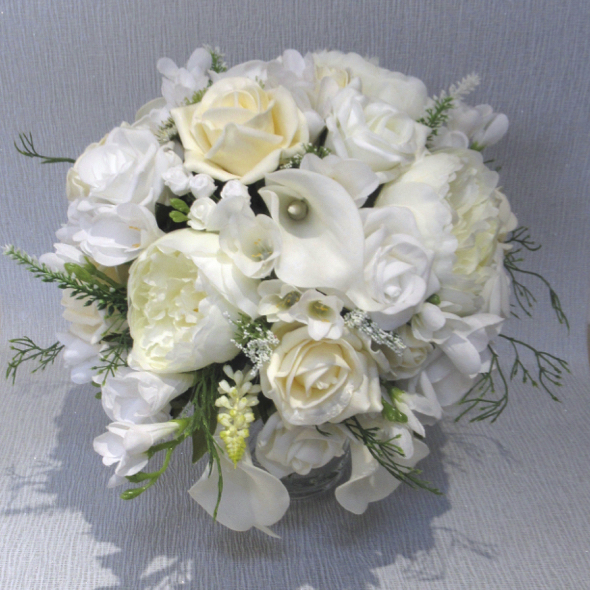 Ivory, Cream & White Peony, Rose & Calla Lily Bouquet