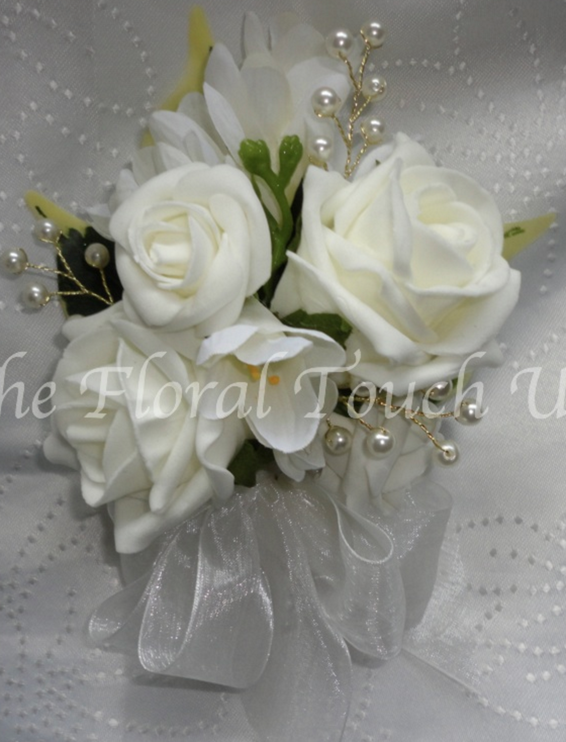 Ivory Roses & Freesia With Pearls