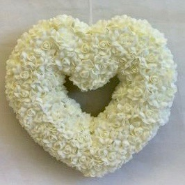Ivory Foam Rose Hanging Heart Pew End