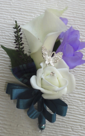 Lavender & Teal Corsage with Diamante Butterfly