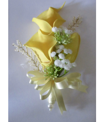 Lemon & Gold Calla Lily & Tulip Corsage with Beautiful Bead Sprays