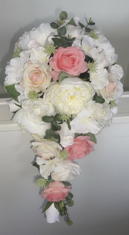 Light Coral & Ivory Fresh Touch Rose Bridal Shower Bouquet