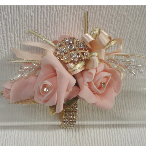 Light Coral/Peach & Gold Wrist Corsage