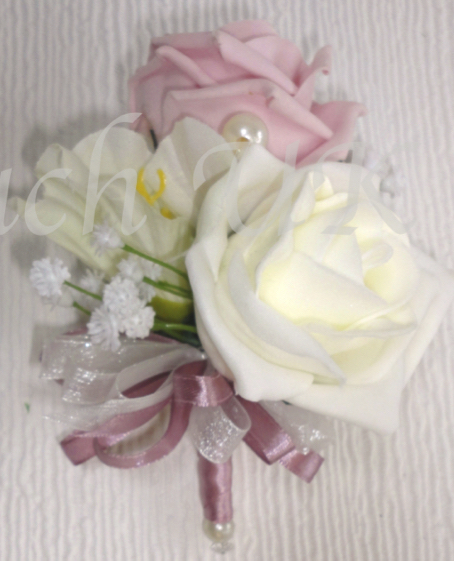 Vintage Pink & Ivory Rose & Freesia Corsage with dusky pink ribbon