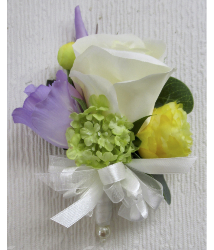 Silk Rose with Lilac Lisianthus, Green Snowball & Mini Yellow Ranunculus