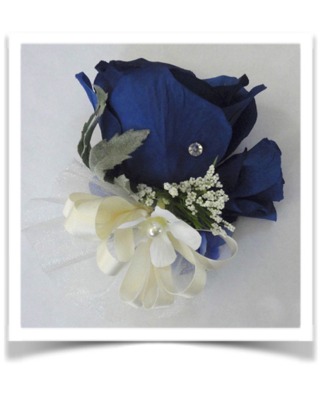 Midnight Blue Rose Corsage