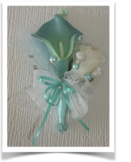 Aqua Real Touch Calla Lily & Rose Corsage with diamante & pearls