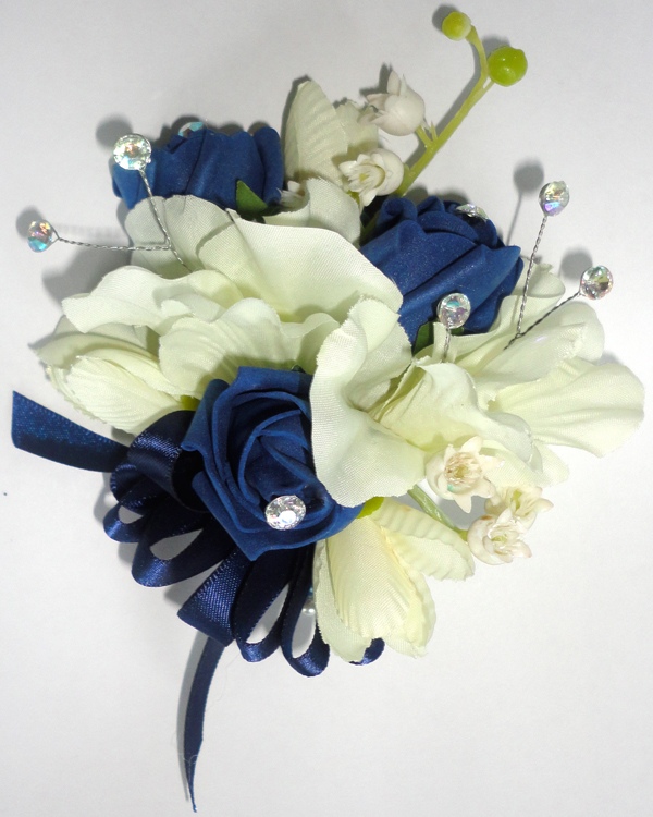 Navy Blue & Cream Freesia & Rose Bud Corsage with Lily of The Valley & Crystal Sprays