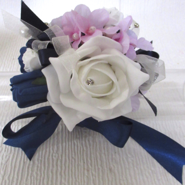 Navy, Baby Pink & White Ribbon Tied Wrist Corsage