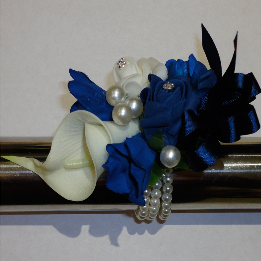 Navy Blue/Midnight Blue & Ivory Wrist Corsage