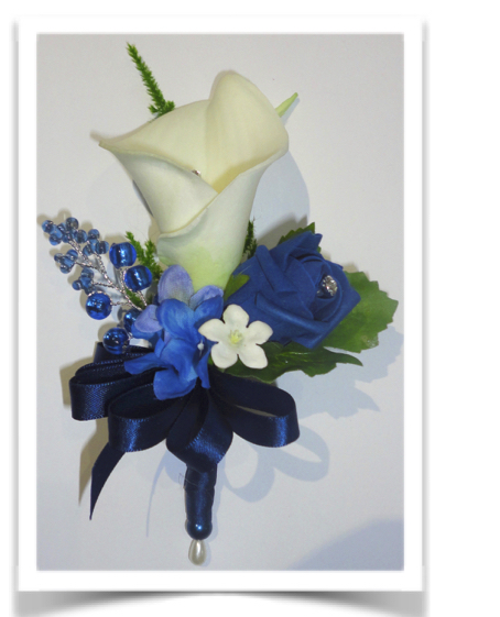 Navy Blue & Ivory Real Touch Calla Lily & Rose Corsage