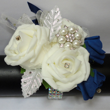 Navy Blue & Pale Ivory Wrist Corsage