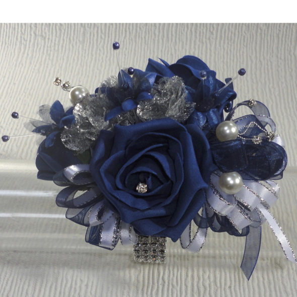 Navy & Silver Prom Wrist Corsage