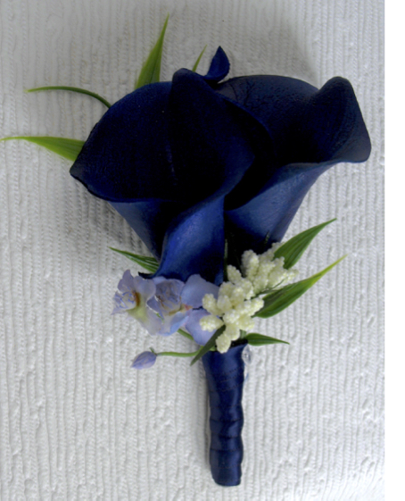 Navy Blue Calla Lily Buttonhole
