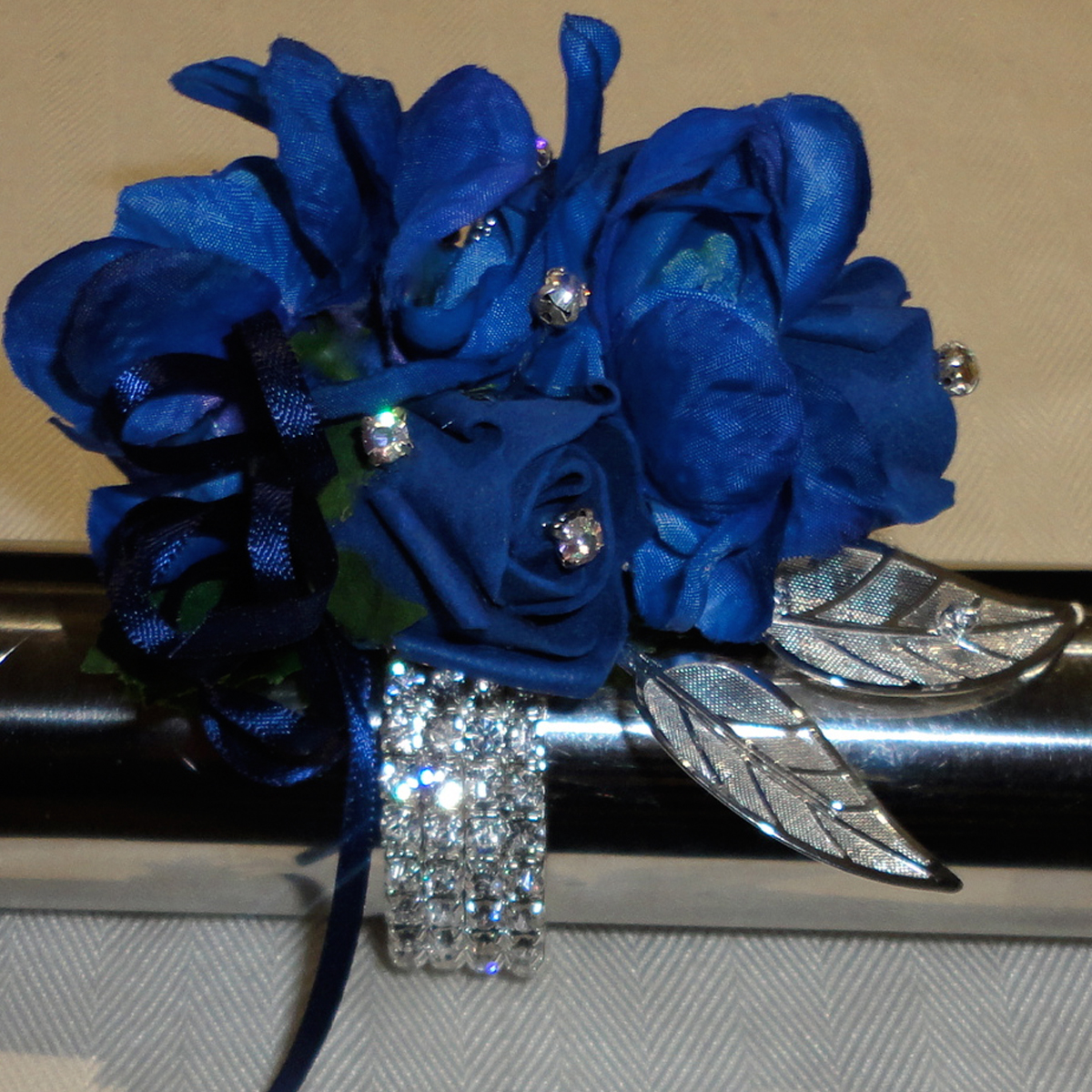 The floral touch uk silk flower wrist corsages mother of the midnightlightnavy blue wrist corsage mightylinksfo