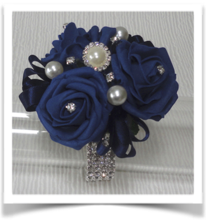 Navy Blue Rose Wrist Corsage with Pearls and Diamante