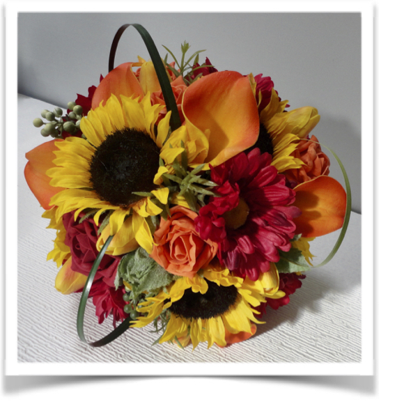 Orange & Deep Red Sunflower, Gerbera & Rose Bridal Bouquet