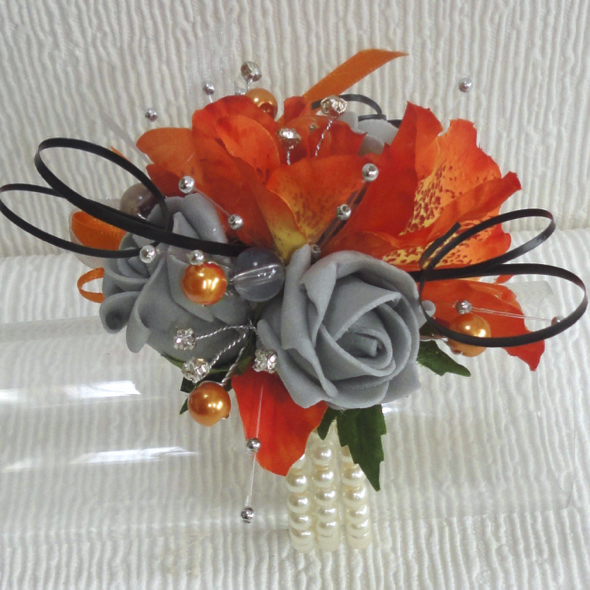 Orange & Grey Wrist Corsage