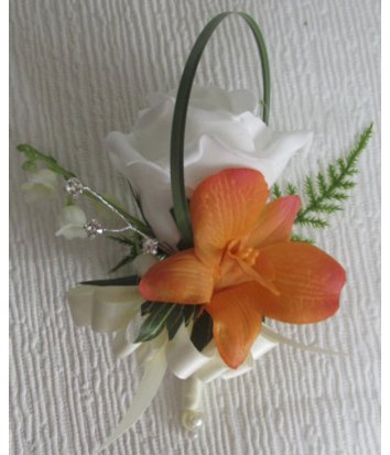 Ivory Rose with Orange Orchid & Lily of the Valley