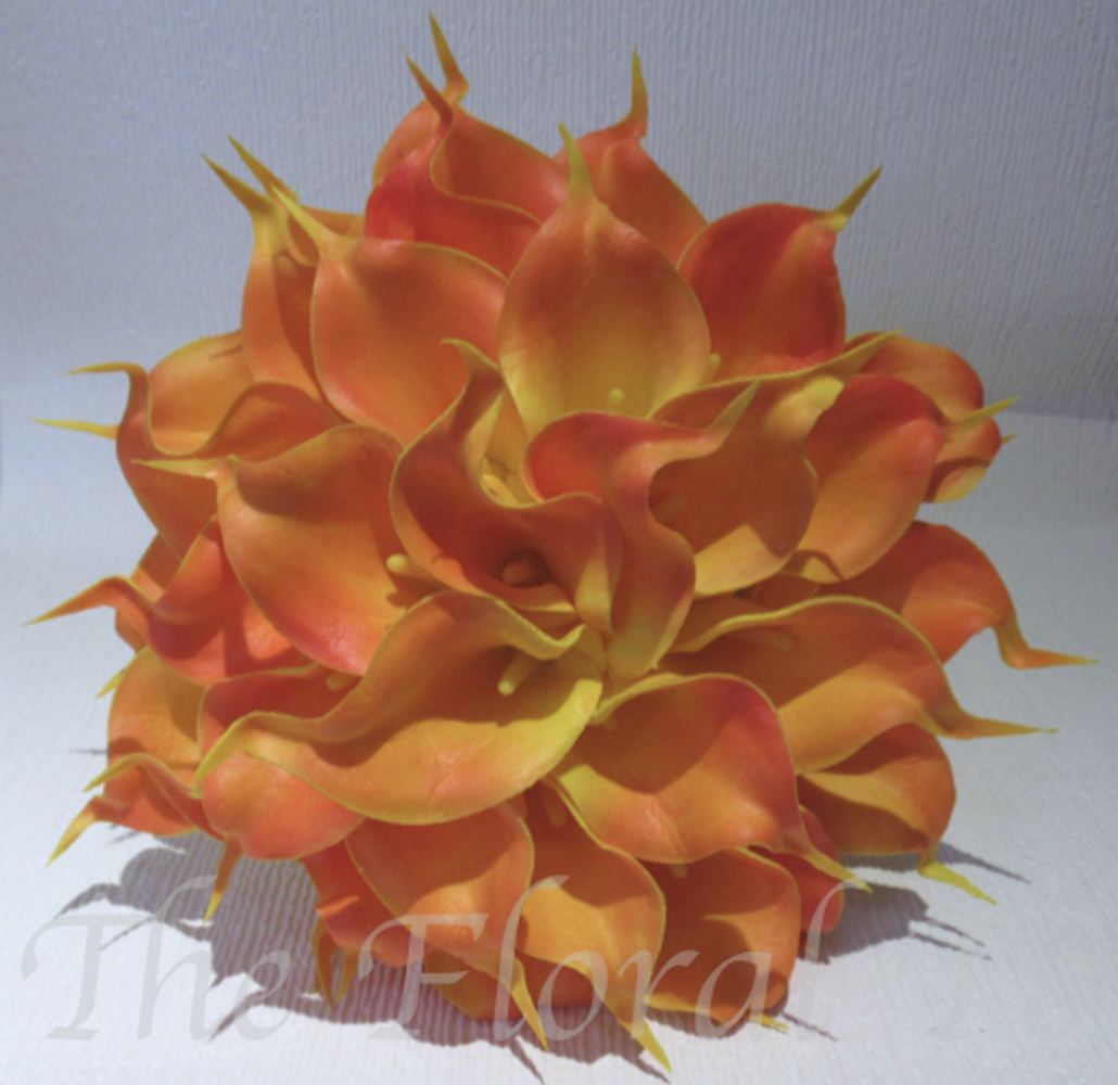 Orange Real Touch Calla Lily Bridal Bouquet