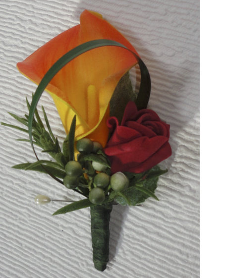 Red Rose Bud & Real Touch Orange Calla Lily Buttonhole