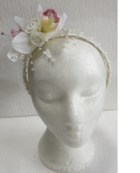 Orchid & Mini Rose Flower Girl Headband